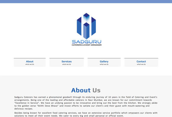 Sadguru Caterers - One Page Website